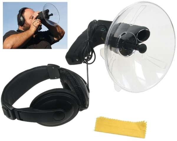 Parabol Richtmikrofon Parabolmikro mit Kopfhörer