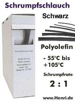 1m Schrumpfschlauch 3,2mm Schwarz Meterware