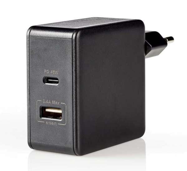 USB Netzteil USB-C Ladegerät max 5,4A 2fach-USB-Port mit 45W Auto-PD