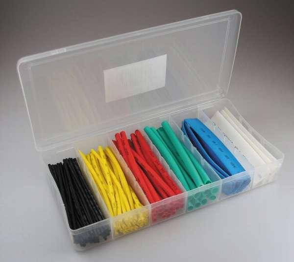 Schrumpfschlauch Sortiment 100tlg in Kunststoffbox --Bunt--