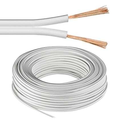 50m Lautsprecherkabel 2x 0,75qmm Ring Weiss Litze CCA