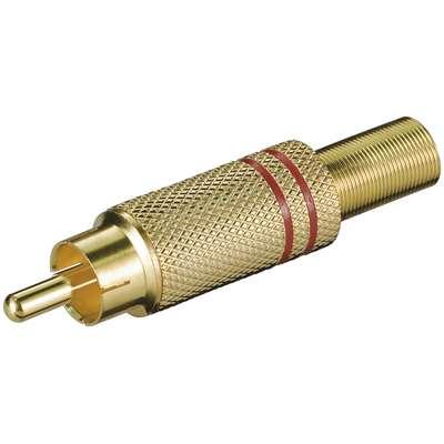 Cinchstecker vergoldet mit roter Kennung RCA Stecker