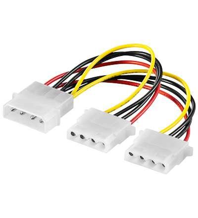 PC Netzteil Adapter 2x 5,25 Y-Adapter für 2 HDD PC intern