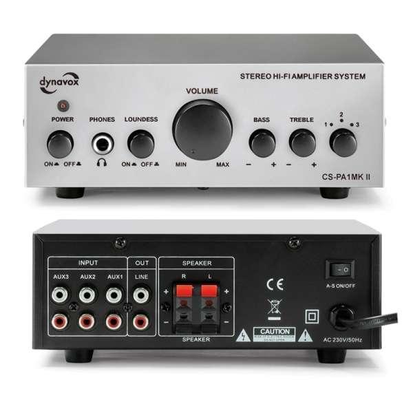 Verstärker CS-PA1-MK2 Mini-Verstärker 2x30Watt 2Kanal Stereo Silber