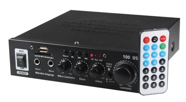 Stereo Mini Verstärker 2x50Watt mit SD USB MP3 Player Fernbedienung 12V 230V