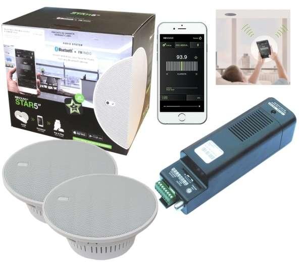 Bluetooth Deckenlautsprecher Set Star 5zoll mit Verstärker APP UKW DAB+ für Küchen Bäder Farbe Weiss