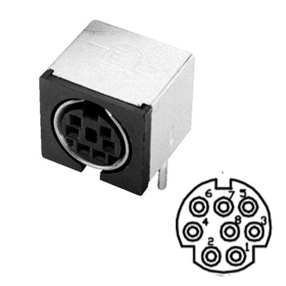 8pol Mini DIN Buchse für Leiterplatte geschirmt