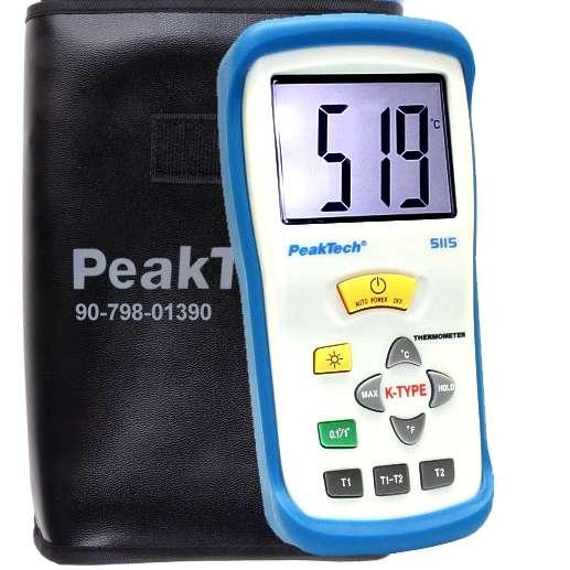 Temperatur Messgerät P5115 mit Kabelfühler 2 Kanal Digital Thermometer