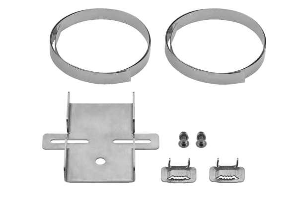 Masthalter 145x130mm für Rohre Masten bis 300mm V2A Ausführung samt Stahlbänder