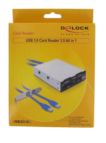 """CardReader Kartenleser intern 3,5"""" DELOCK 65in1 mit USB3"""