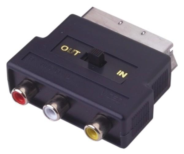 SCART Adapter 3x Cinchbuchsen schaltbar