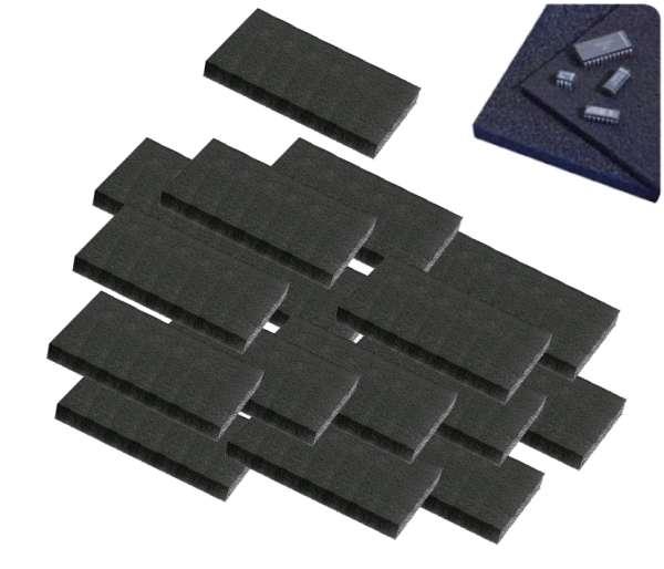 MOS Schaumstoffmatte ca 72x62x5mm ESD Matte leitender PU Schaumstoff 100-Stück