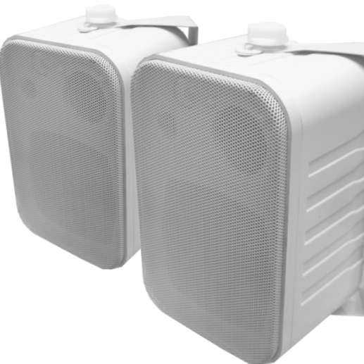 Lautsprecherboxen D5L3 2x60W mit Bügel Weiss Paar