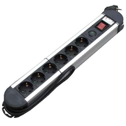 6 Fach Steckdosenleiste Aluminium Blitzschutz Überspannungsschutz mit Schalter