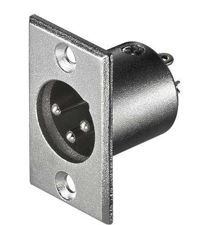 3pol XLR Einbaustecker Metallausführung --Silberfarben--
