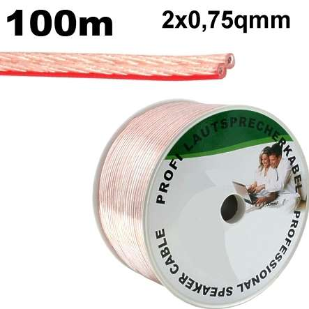 100m Lautsprecherkabel 2x 0,75qmm Transparent
