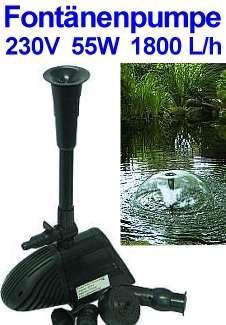 230V Pumpe 55W Fontänenpumpe für Gartenteiche 1800l/h