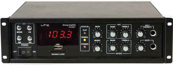 ELA Verstärker 100W mit 4-8Ohm 100V Bluetooth USB MP3 Player UKW Tuner und FB