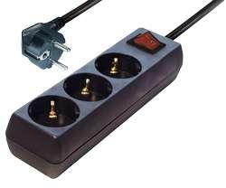 Steckdose 3-fach Steckdosenleiste mit Netzschalter Schwarz