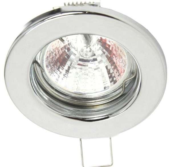 Deckeneinbauring Chrom DM80mm zu MR16 50mm Leuchtmittel Einbaufassung