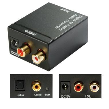 Audio Konverter Digital Koax oder Toslink auf Cinch DA-Wandler SPDIF