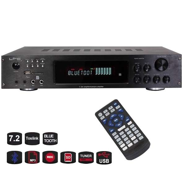 Verstärker 7.2 mit Bluetooth USB Player UKW Tuner MP3 Toslink
