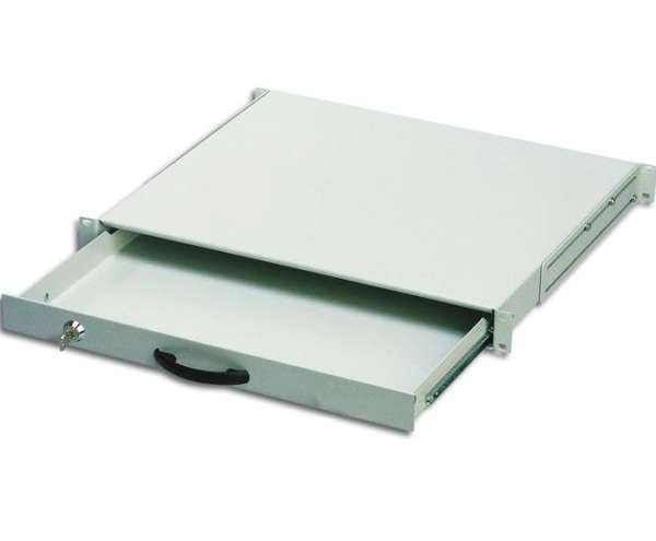 483mm Schublade mit 1HE Grau 19zoll Rackschublade