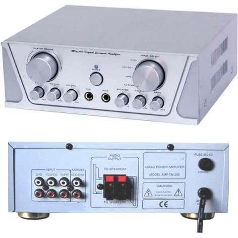 Verstärker XXL-Power TM200 Hifi mit Echo 2x90 Watt 2Kanal Stereo