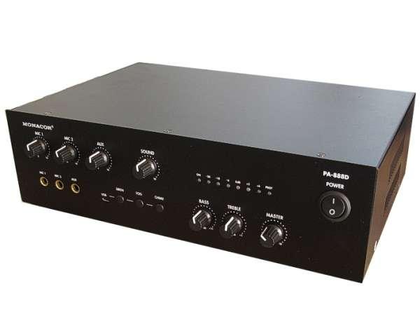 ELA Verstärker 80W mit 4-8Ohm 100V Out PA888D 230V oder 12V-24V Betrieb mit USB Player