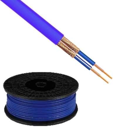 100m Mikrofonkabel 2x 0,16qmm Blau 6mm