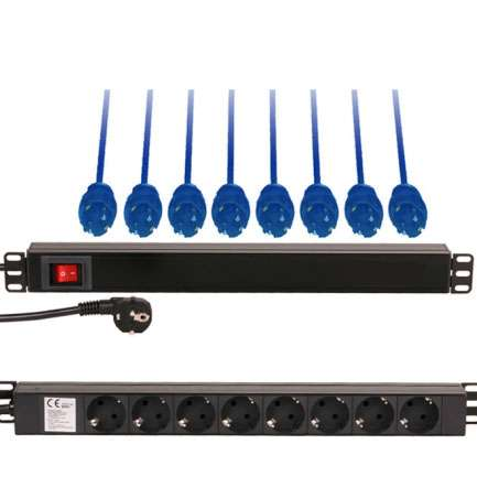 Steckdose 8-fach Steckdosenleiste mit Netzschalter 250V 16A 19zoll Racksteckdose