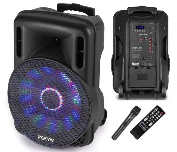 Mobile Musikanlage 15zoll 800W Verstärker mit Bluetooth USB-Player Funkmikrofon und AUX Eingang