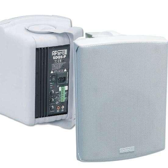 Aktiv Lautsprecher 2x100 Watt mit Bügel Weiss