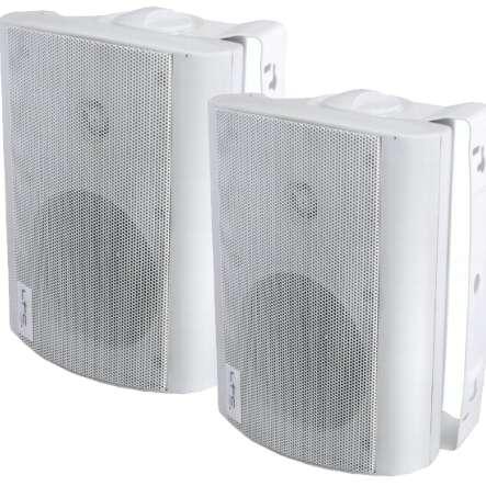 Lautsprecherboxen 2x60W 8ohm mit Bügel Weiss Paar