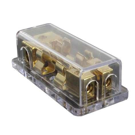 Sicherungshalter 2-fach für 10x38mm AGU Sicherung vergoldet
