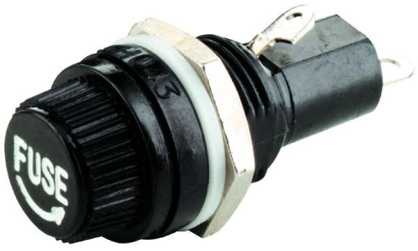 Lötösen schwarz Kaltgeräte-Einbaustecker mit Sicherungshalter 5x20mm 10A//250V