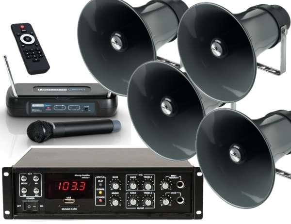 Sportplatz Lautsprecheranlage Set-4 (6-teilig) mit Funkmikro