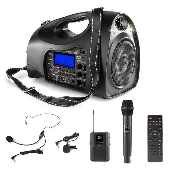Mobile Beschallungsanlage mit AKKU SD USB Player Bluetooth Funkmikrofon Rednermikrofon
