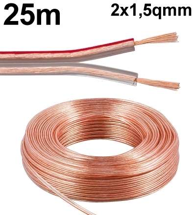 25m Lautsprecherkabel 2x 1,5qmm Ring Transparent