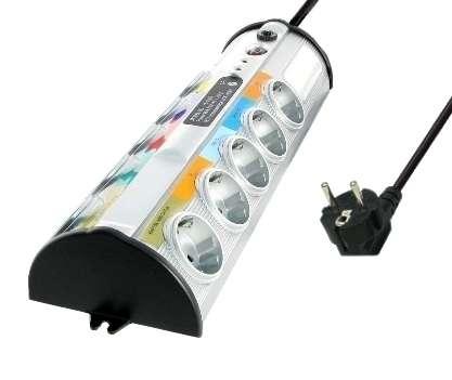 Steckdose 10-fach Steckdosenleiste schraubbar mit Überspannung Schutz Blitzschutz Entstör-Filter