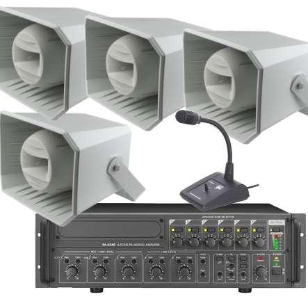 Lautsprecheranlage Set-60 (6-teilig) mit Tischmikrofon