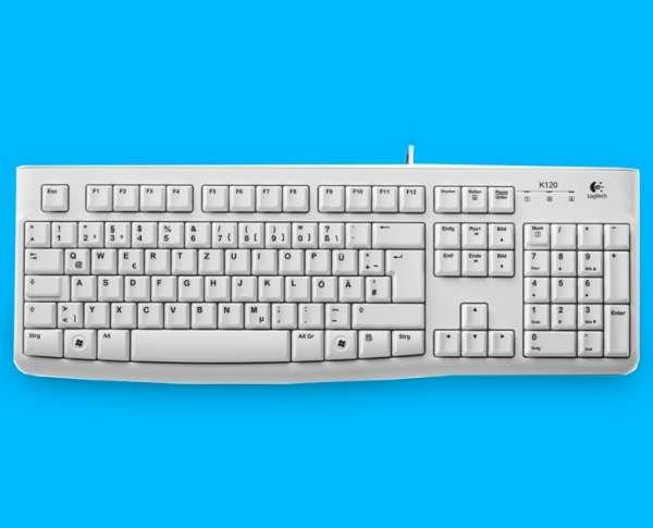 Tastatur Logitech K120 USB Anschluss Weiss