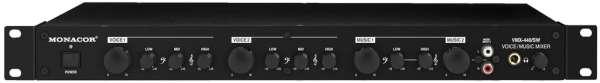 Mischpult 4Kanal Mixer 19zoll 1HE mit 2xLine und 2x Mikrofon Eingängen