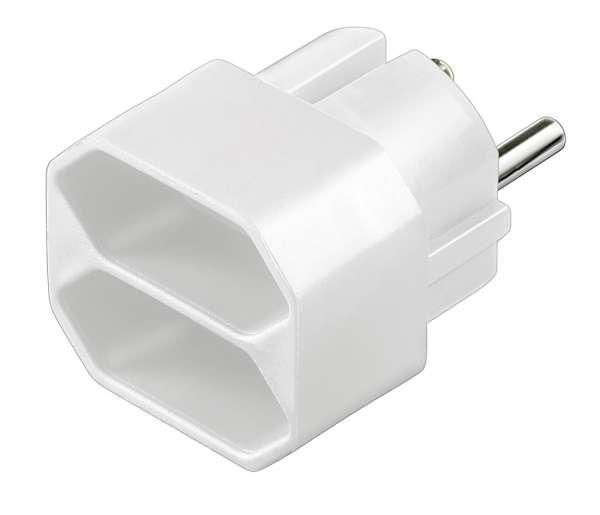 Steckdosen Adapter Schutzkontakt-Stecker auf 2x Euro Buchse