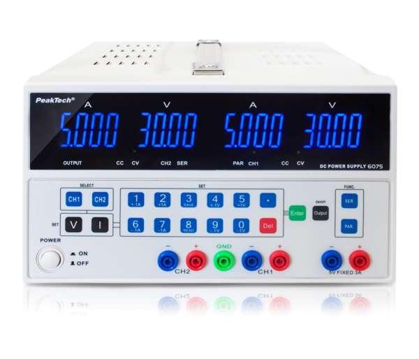Regelbares Labornetzgerät Doppelnetzteil 2x 0-30V 5A 300W mit Software P6075